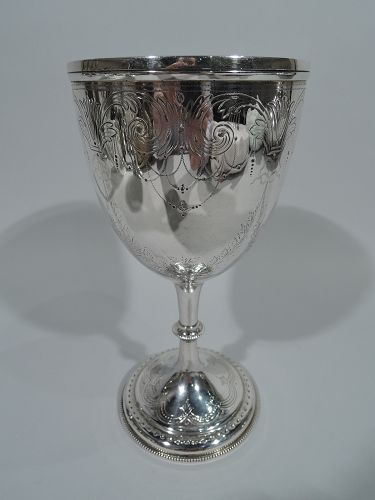 Antique English Sterling Silver Goblet with Fluid & Festive Scrolls