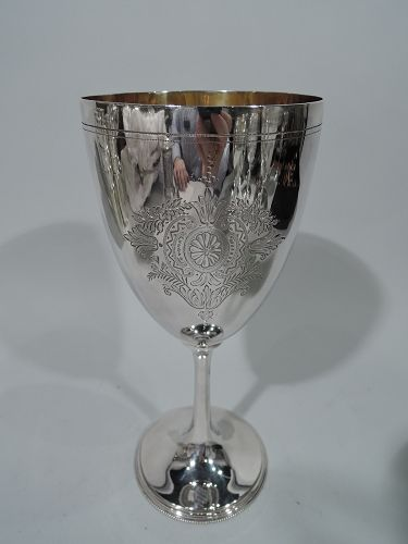 Tall Antique English Sterling Silver Goblet