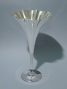 Antique Tiffany Sterling Silver Fluted Conical Vase C 1893