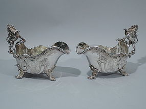 Asprey Sterling Silver Gravy Boats with Lion Handles