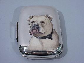 Victorian Cigarette Case with Enamel English Bull Dog