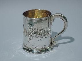 English Rococo Sterling Silver Mug C 1750