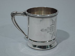 John Cook New York Coin Silver Christening Mug C 1870