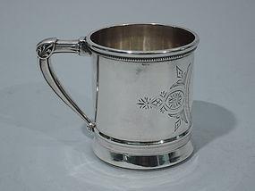 John Cook New York Coin Silver Christening Mug C 1870