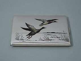 American Cigarette Case with Enamel Ducks C 1910
