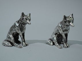 Fox Salt & Pepper Shakers - German Silver C 1910
