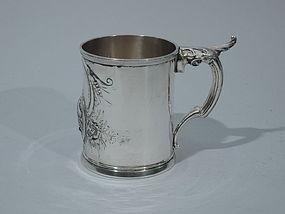 Wood & Hughes New York Coin Silver Mug C 1860