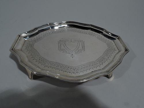 Antique English Georgian Sterling Silver Small Cartouche Salver Tray