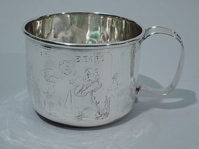 Mother Goose Sterling Silver Baby Cup C 1910