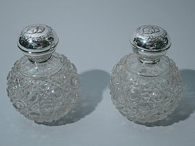 Edwardian Sterling Silver & Cut Glass Perfumes 1907