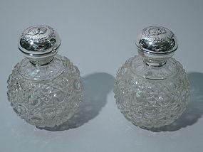 Edwardian Sterling Silver & Cut Glass Perfumes 1907