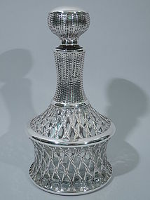 Japanese Decanter Silver Overlay - Basket Motif C 1920