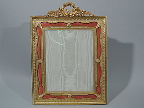 Antique French Rococo Dore Bronze Pink Enamel Frame