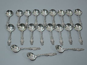 Whiting Lily Sterling Silver Dessert Spoons C 1920