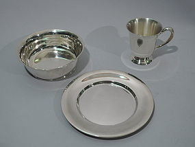 3-Piece Cartier Sterling Silver Youth Set C 1920