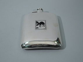 American Sterling Silver Flask with Enameled Camel