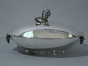 Georg Jensen Sterling Silver Covered Centerpiece Bowl with Grape Motif