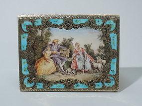 Italian Rococo Silver Gilt and Enamel Cigarette Case