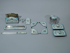 American Sterling Silver & Blue Enamel Desk Set C 1920