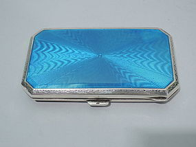 Art Deco Sterling Silver and Turquoise Enamel Case