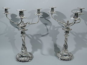 Tiffany Chrysanthemum 3-Light  Candelabra C 1882