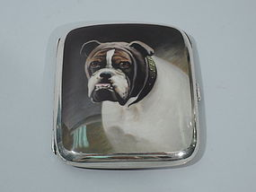 European Silver Cigarette Case with Enamel Bulldog C 1910