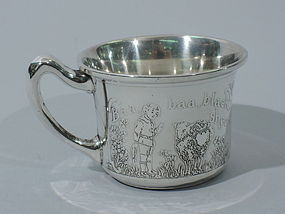 Antique American Sterling Silver Baby Cup - Nursery Rhymes