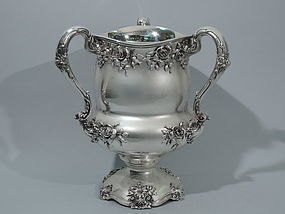 Large American 3-Handle Sterling Silver Trophy Cup with Roses