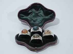 Victorian Sterling Silver & Hardstone Napkin Rings