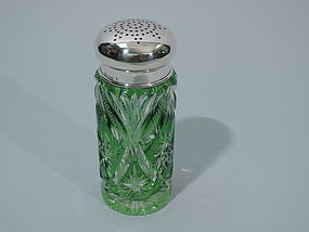 German Silver and Green Cut Glass Sugar Caster C 1900