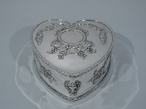 Regal and Romantic Sterling Silver Heart Box by Howard of New York