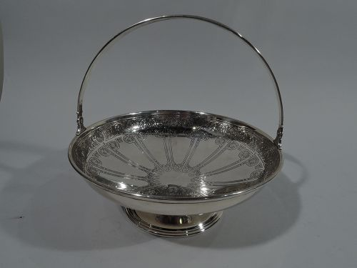 Antique Tiffany Aesthetic Exotic Sterling Silver Basket Bowl