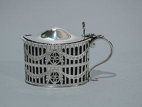 English Neoclassical Sterling Silver Mustard Pot 1899