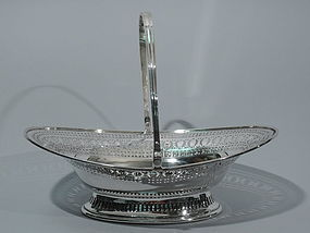 Edwardian English Sterling Silver Basket 1902