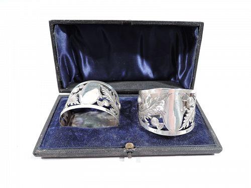 Edwardian English Sterling Silver Napkin Rings 1906
