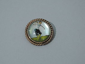 14K Gold Essex Crystal Pin with Golfer C 1940