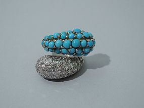 American Cocktail Ring - Diamond, Turquoise, & Gold