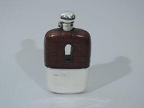 Edwardian Safari Flask - English Sterling Silver 1901