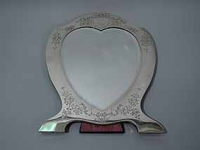 Edwardian English Sterling Silver Heart Mirror 1907