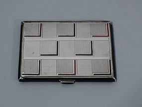 Art Deco Sterling Silver & Enamel Cigarette Case C 1929
