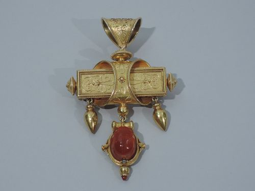Egyptian Revival 18K Gold Pendant with Scarab C 1860