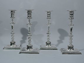 Set of 4 Sterling Silver Candlesticks
