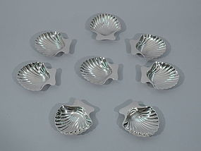 Set of 8 Tiffany Sterling Silver Nut Dishes - Classic Scallop Shell