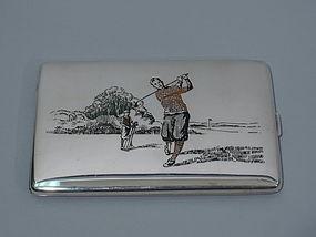 Novelty Cigarette Case with Swinging Golfer - Sterling Silver & Enamel
