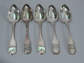 Antique Fiddle Thread Tablespoons - Philadelphia Coin Silver C 1830