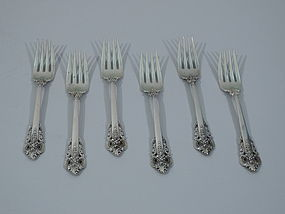 Set of 6 Wallace Grande Baroque Sterling Silver Salad Forks