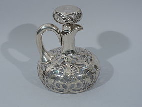 American Silver Overlay Rye Decanter with Grain Heads C 1900