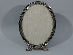 American Sterling Silver Oval Picture Frame C 1925