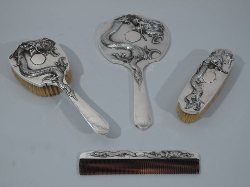 Chinese Export Silver Vanity Set C 1900