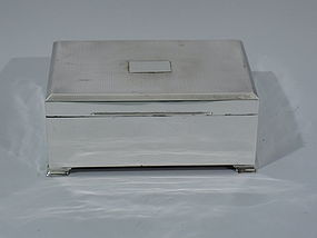 Large Art Deco Desk Box - English Sterling Silver 1926